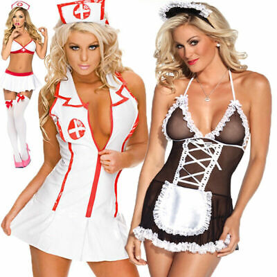 £9.69 • Buy Women French Maid Nurse Fancy Dress Costume Outfit Hen Party Naughty Girl Suit