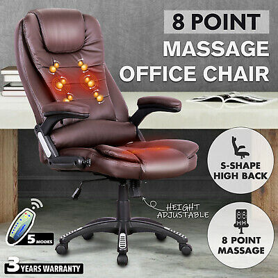 AU149.90 • Buy Computer Executive Office Chair 8 Point Heated Massage Chairs PU Leather Brown