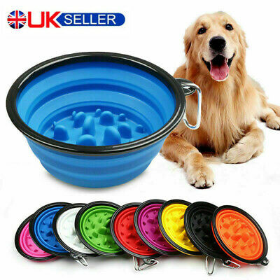 Silicone Collapsible Pet Dog Puppy Food Bowl Travel Eating Cat Dish Slow Feeder • 3.99£