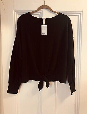 Women's H And M Black Front Tie Long-sleeved Top, New With Tags. • 1.30£