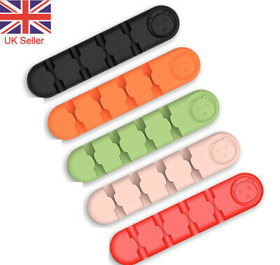 Silicone Cable Wire Clips Ties Organiser Desk USB Charger Cables Holder Tidy UK • 1.99£