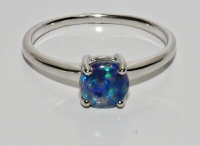 Sterling Silver Black Opal Solitaire Ring - Real 925 Silver - All Sizes • 16.95£