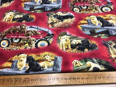 100% Cotton Fabric With Labrador Puppies • 16£