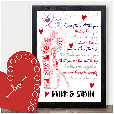 I Love You Gifts For Couples Girlfriend Boyfriend Wife Anniversary Personalised  • 3.99£