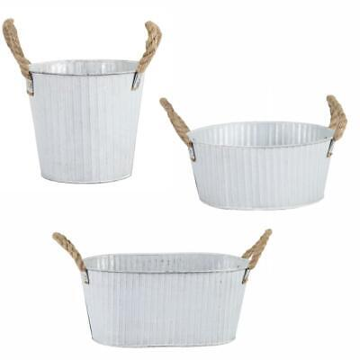 Retro Ribbed Old White Galvanised Zinc Metal Plant Flower Planter Pot • 9.49£