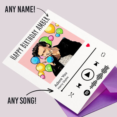 £3.60 • Buy Personalised HARRY STYLES Favourite Song Spotify Birthday Card Daughter Sister