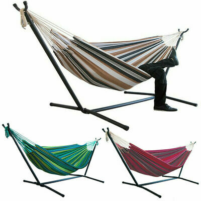 £69.97 • Buy Strong 2-Person Swing Hammock Lounger Rocking Hanging Bed Chair W/ Hammock Stand