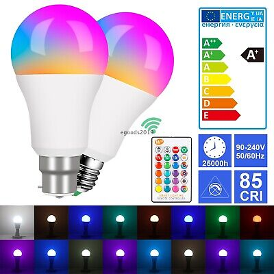 £5.59 • Buy RGB LED Light Bulbs B22 E27 Multi Colour Changing IR Remote Controlled Lamps UK