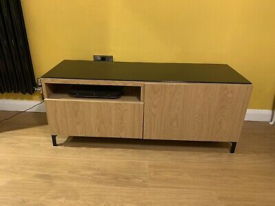 Ikea Besta TV Unit Cabinet Black/Oak With Cupboard, Drawer, Legs And Glass Top • 35£