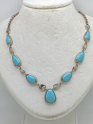 """$ CDN50.62 • Buy Whitney Kelly WK Sterling Silver Turquoise 18"""" Necklace 17.6g"""