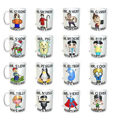 £6.99 • Buy New Mr Men Personalised Coffee/Tea Mugs For Him Husband Father Boyfriend Gifts