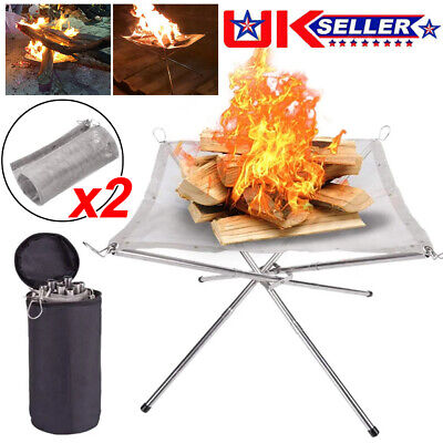 £17.99 • Buy Portable Fire Pit Folding Bonfire Stand For Outdoor BBQ Camping Patio + 2X Mesh