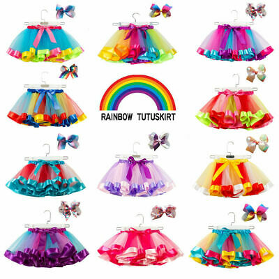Kids Child Girls Rainbow Colorful Tutu Skirt Tulle Tutu Mini Dress Dancewear UK • 9.99£