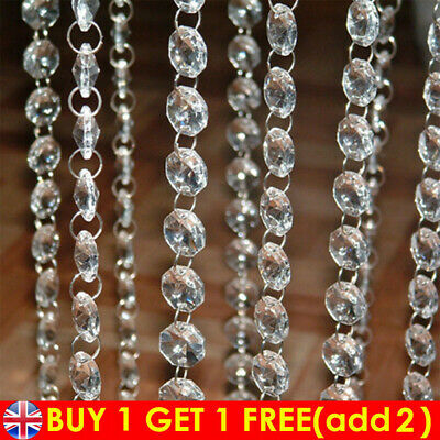 £4.36 • Buy 40 Drops 14mm Crystals Droplets Acrylic Beads Wedding Chandelier Light 2-Hole UK