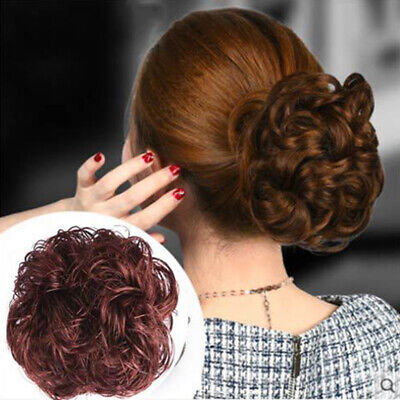 Woman Ladies Natural Curly Wave Hair Bun Clamp Hair Extension Wig Claw Clip UK • 4.92£