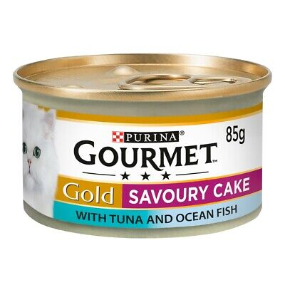 Gourmet Gold Savoury Cake Tuna & Ocean Fish Wet Cat Food Cans - 12 X 85g • 8.29£