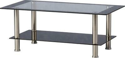 Seconique Harlequin Coffee Table Clear & Black Glass With Chrome Legs • 71.95£