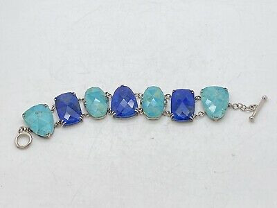 $ CDN84.68 • Buy Whitney Kelly WK Sterling Silver Turquoise Lapis Mosaic Doublet Toggle Bracelet