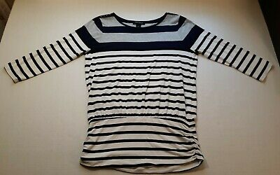 $ CDN20.29 • Buy White House Black Market Striped Ruched Sides Tunic Top Size Medium  3/4 Sleeve