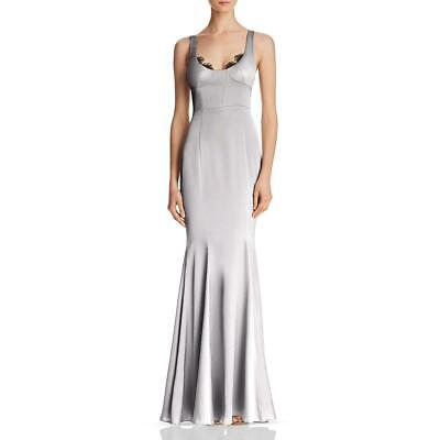 AU44.79 • Buy Fame And Partners Womens Ara Gray Satin Formal Evening Dress Gown 12  5796