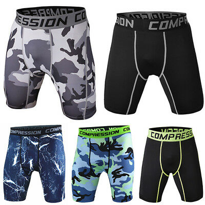 Men Sports Gym Compression Bottom Base Layer Shorts Pants Yoga Tights Trousers • 9.69£