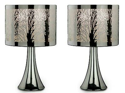 New Pair Of Two Silver Chrome Tree Scene Touch Pad Table Lamp Lights Bedside 2 • 48.95£