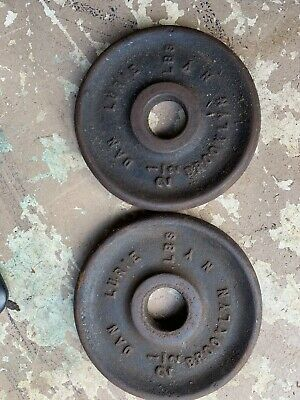 $ CDN31.51 • Buy Two (2) Vintage DAN LURIE 2 1/2 LB WEIGHT PLATES CAST IRON DUMBBELL BROOKLYN, NY