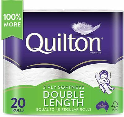 AU28.99 • Buy Toilet Paper 20 Rolls Deluxe Quilton 3 Ply Double Length Large Roll Tissue Bulk