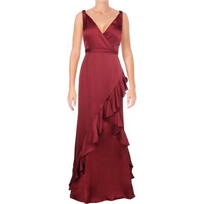 AU48.44 • Buy Aidan Mattox Womens Red Satin Special Occasion Evening Dress Gown 10  7760