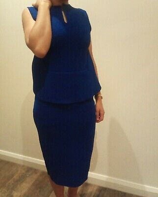 AU189 • Buy SCANLAN THEODORE NWOT Cobalt Blue Crepe Knit Peplum Dress Small RRP $550