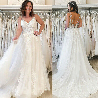 $ CDN37.84 • Buy A Line Wedding Dresses Spaghetti Straps Lace Applique Tulle Backless Bridal Gown