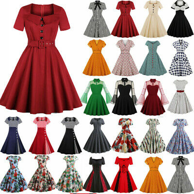 Women Ladies 50s 60s Vintage Style Pinup Swing Party Rockabilly Swing Dress • 14.30£