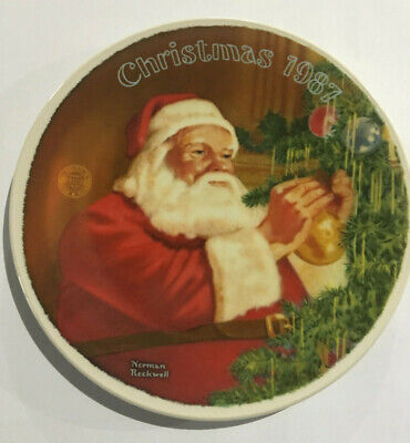 $ CDN10.95 • Buy Norman Rockwell 1987 Limited Edition Santa's Golden Gift Graphic Christmas Plate