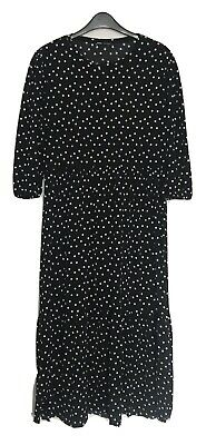 Zara Black White Polka Dot 3/4 Sleeve Tiered Skirt Midi Dress Sz M • 0.99£