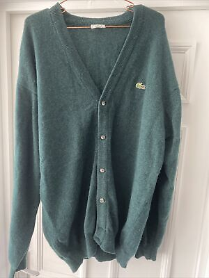 Lacoste Brown Cardigan Size 7 - 24  P2P - Green Wool • 10.50£