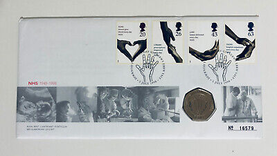 1998 NHS 50p Coin Fifty Pence BU Uncirculated Stamp Cover FDC PNC Royal Mint • 21.80£