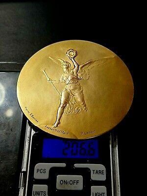 £1050.27 • Buy French Olympic Angel Gold Pl.Silver Athletic Federation Art  BIG Medal By Lenoir