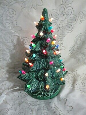 $ CDN31.50 • Buy Vintage Green Ceramic Christmas Tree Holly Base Works 13 1/2
