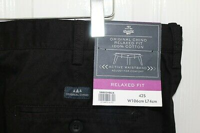 Atlantic Bay W42S Black Chino Trousers Relaxed Fit Active Waistband BNWT #LL  • 14.99£