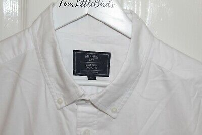 Atlantic Bay XL White Oxford Cotton Short Sleeve Button Up Shirt Mens #LL • 9.99£