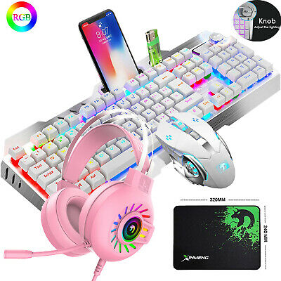 AU81.89 • Buy Wired Gaming Mechanical Keyboard And Mouse And Headset 4 In 1 Combo RGB Backlit