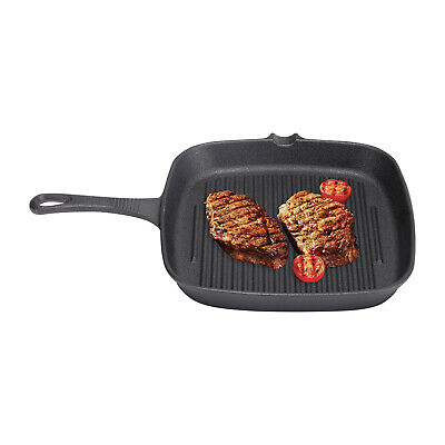 £14.95 • Buy Square Cast Iron Non Stick Fry Griddle Pan BBQ Frying Steak Meat Grill Skillet
