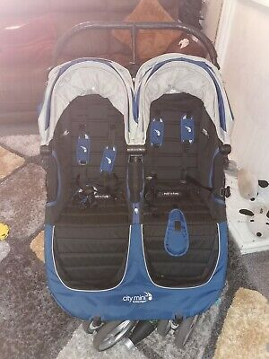 Baby Jogger City Mini Double Pushchair - Black And Blue Barely Used • 100£
