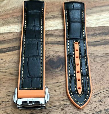 Omega Watch Strap Leather Rubber 22mm Black Orange Mens Deployment Buckle Band • 44.99£