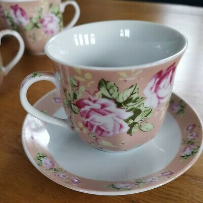 Vintage Coffee / Tea Cups & Saucers. Set Of 6 NEW. Pink Rose Design.  • 29.99£