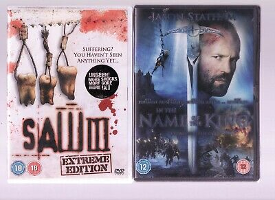 2 -DVDs SAW 111 & DVD JASON STATHAM IN THE NAME OF THE KING • 0.01£