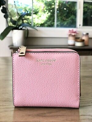 $ CDN54.19 • Buy NWT KATE SPADE EVA SMALL L ZIP BIFOLD LEATHER WALLET PINK Wlru6253
