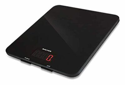 Salter Digital Kitchen Weighing Scales – Stylish Black Glass Easy To Clean Pla • 38.02£