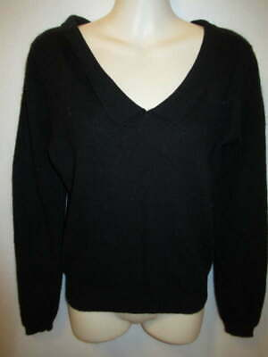 $22.95 • Buy Daniel Caron 100% Cashmere Black Vintage V-Neck Sweater With Collar M May Fit S