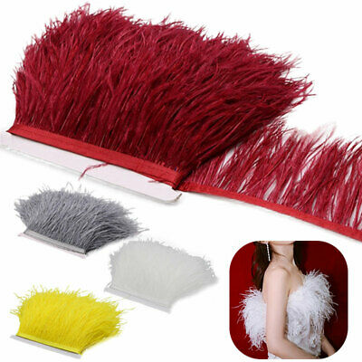 £5.40 • Buy 4 Colours 1M Quality Ostrich Feather Fringe Trim For Millinery Hats Craft Dress